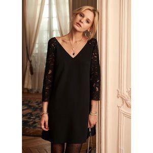 SEZANE Alan Dress Black Lace V-Neck 34 US 2 XS